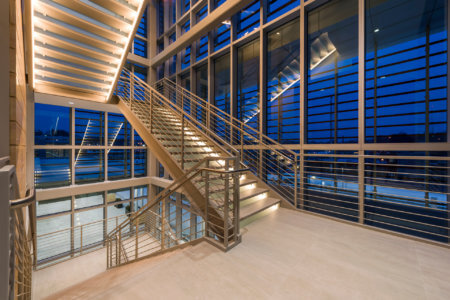 Lauritzen Outpatient Center | Nebraska Medicine  Dusk Stairwell - Architectural Healthcare Photography