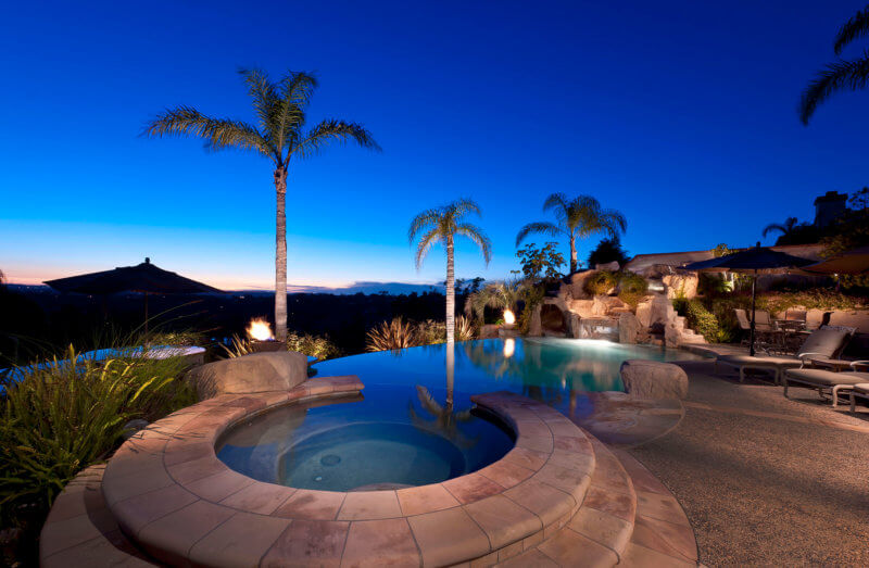 Pool View Dusk - Architectural Residential Photography